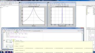 "The previous video in this playlist introduced the time-duration (Td) and bandwidth metrics (Bw) and said that the time-bandwidth product was always greater than or equal to 1/2 (i.e Td*Bw greater than or equal to 0.5).This video examines the this time-bandwidth product via experimenting with a Matlab script.  The continuous time-signal x(t) = exp(-at) is parameterized by ""a"" which controls how quickly the signal decays in the time-domain.  The spectrum of this signal (i.e. X(w)) is computed analytically and both Td and Bw are computed numerically in Matlab.  We show that as ""a"" varies, the spectrum changes accordingly (compression in time leads to expansion in frequency and expansion in time leads to compression in frequency).  Also, regardless of the values of Td and Bw, we still have Td*Bw greater than or equal to 1/2 as expected."