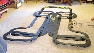 Large HO Scale Slot Car Layout Blacktop 65ft of Tyco Track