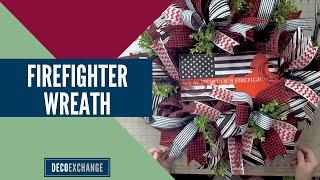 Firefighter Wreath Decor : Red Line Wreath