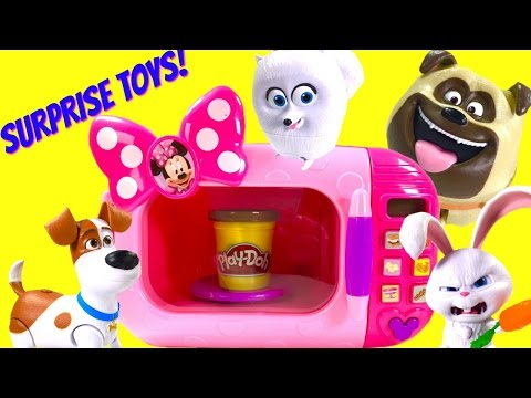 The Secret Life of Pets Make Blind Bags & Food in Minnie Microwave! Walking Talking Max, Gidget