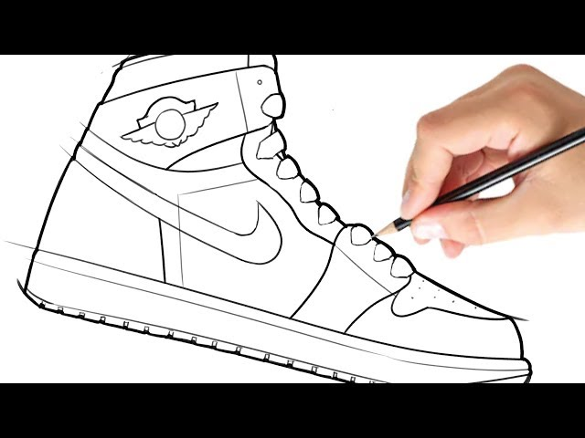 how to draw a jordan shoe