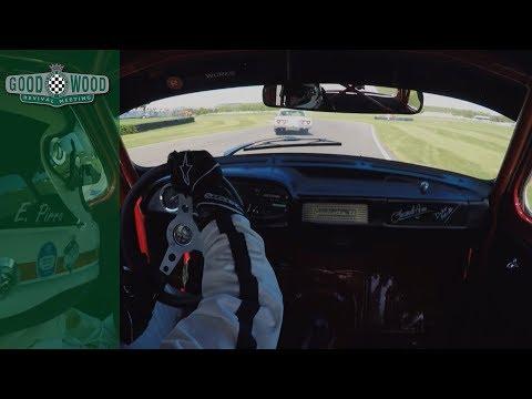 On board wild opening lap at Goodwood on Alfa Romeo Giulietta and Ford Thunderbird