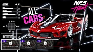 Need for Speed HEAT - FULL CAR LIST!