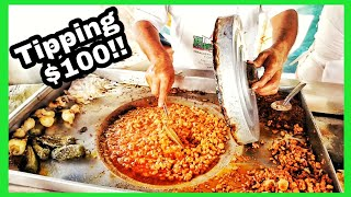 TIPPING $100 Dollars - Street Food In MEXICO - INSANE Beef Head Barbacoa TACOS - Money From SUBS!!