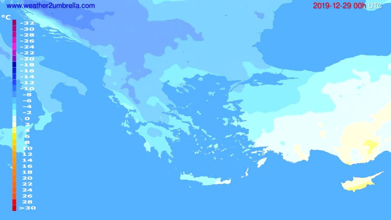 Temperature forecast Greece // modelrun: 00h UTC 2019-12-28