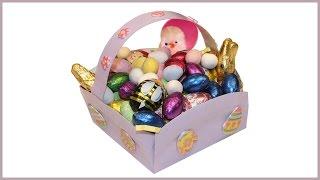 Panier de Pâques fait avec une assiette en papier