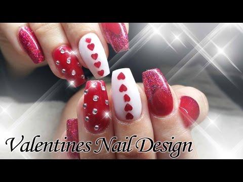 Valentine Acrylic Nail Design