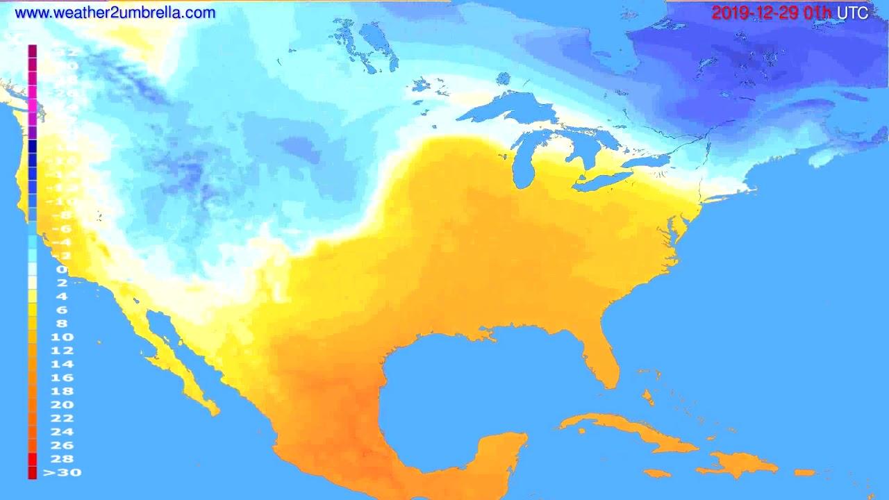 Temperature forecast USA & Canada // modelrun: 12h UTC 2019-12-27