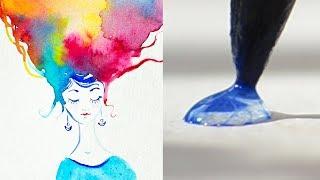 Рисование акварелью 👩🎨Красивое видео АНТИСТРЕСС ❣️
