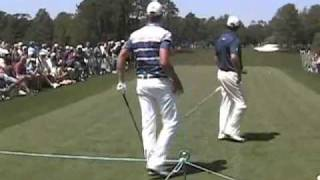 Henrik Stenson, Lee Westwood, Molinari Brothers golf swings - Masters 2011 Practice Round Pt 2