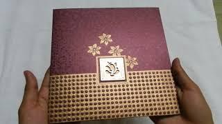 Golden Maroon Indian Wedding Invitation Card With Acrylic Ganesha BCWC6510