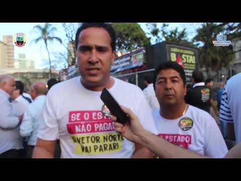Prefeito Cr sitiano Marião e o Vice Salim Salema em manifestação na praça da Liberdade cobrando a divida do estado com os municípios