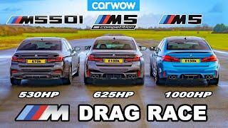 [carwow] BMW M5 1000hp v M5 Comp v M550i - DRAG RACE