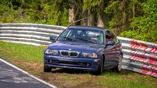 Nordschleife Almost Crash BMW 3 Series E46, Lucky Driver! - 29 04 2018 Touristenfahrten Nürburgring