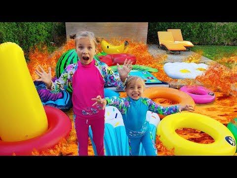 БАССЕЙН это ЛАВА Челлендж 2018 / POOL is LAVA / Дети играют в бассейне с надувашками / Николь Крейзи