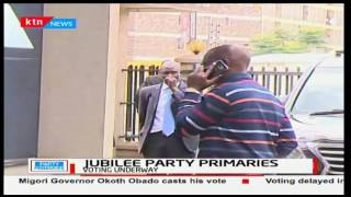 Deputy President William Ruto arrives at Jubilee headquarters to oversee the party primaries