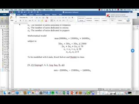 Matlab Example for Linear Programming