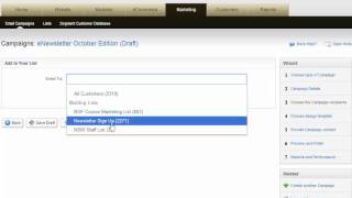 Marketing list selection in Email Marketing for Adobe Business Catalyst