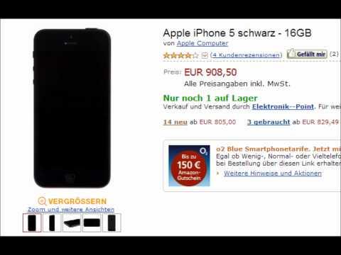 Apple iPhone 5 schon ab 805 Euro ohne Vertrag in Farbe schwarz - 16GB