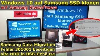 Windows 10 auf Samsung SSD Evo klonen mit Samsung Software - Fehler 301001 FIX Error