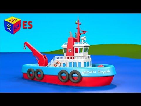 Dibujos de transportes para niños en español. Juego de construcción: el remolcador. Learn Spanish