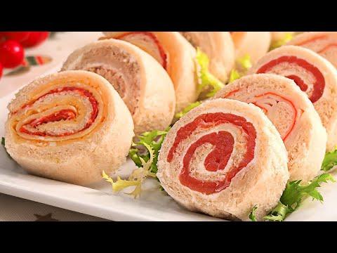 Rollitos de Canapés con Pan de Molde muy Fáciles Rápidos y Económicos