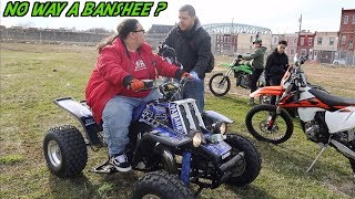 KID LEARNS HOW TO RIDE A BANSHEE 350 ?