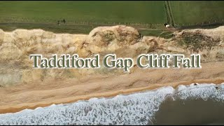 Drone footage of Taddiford Gap Cliff Fall, Barton-on-Sea, New Forest, Hampshire, UK
