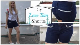 DIY Lace Trim Shorts | Priscilla Marie