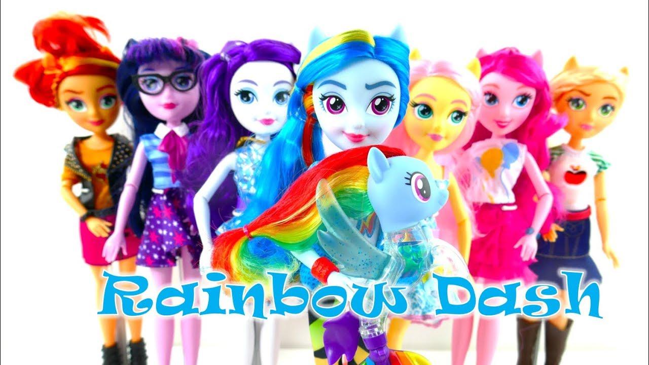 New Rainbow Dash MLP Equestria Girls Fashion Doll and Flip & Flow Seapony