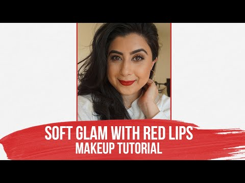 Soft Glam With Classic Red Lips Makeup Tutorial