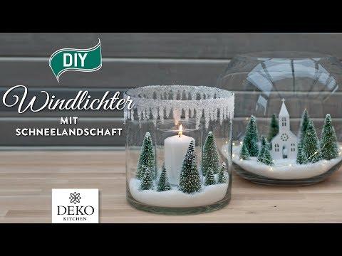 DIY-Weihnachtsdeko: Windlichter mit Schneelandschaft selbermachen [How to] Deko Kitchen (P)