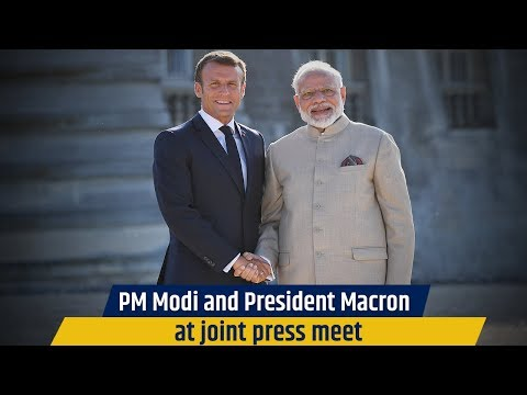 PM Modi and President Macron at joint press meet