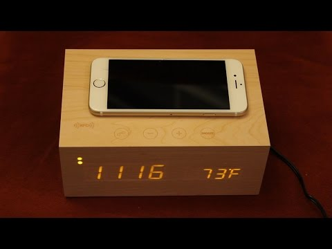 112a18672aa Unboxing Review Alarm Clock With Bluetooth Speakers NFC   Qi Wireless  Charging Pad