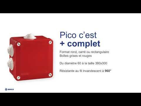 Boîte de dérivation étanche Pico 100x100 Prof. 50 rouge à tétines IP55 960°C
