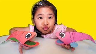 Bé Bún Tự Làm Con Cá Bằng Giấy |DIY Paper Crafts For Kids by Bún Bắp Tô Màu