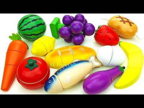 Fun Learning Names Of Fruit And Vegetables Wooden Toys Cutting Fruit Education Videos Fun For Kids