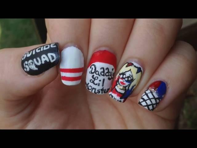 Funky Suicide Squad Nails Illustration - Nail Paint Design Ideas ...