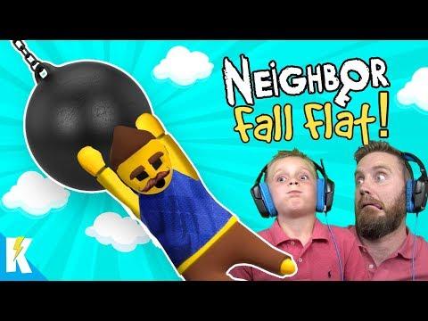 Hello Neighbor Fall FLAT (Human Fall Flat NOOB Gameplay!) KIDCITY GAMING