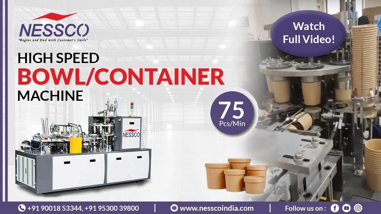 PAPER BOWL MAKING MACHINE  (75 Pcs/ Min)   Paper Container Machine