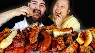 BBQ BABY BACKS RIBS + SPARE RIBS + HOT LINKS + PORK BELLY MUKBANG 먹방 EATING SHOW!