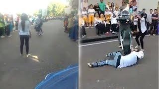 Viral Pemotor Hendak Lakukan Gerakan Stoppie Berujung Gagal, Gadis di Depannya Terhempas Motor
