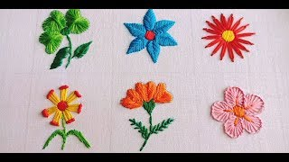 Hand Embroidery Flower Stitch, Easy 6 (six) Flower Embroidery By Rup Handicraft