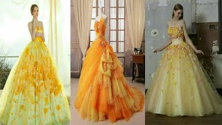 Latest Wedding Dresses 2018 | Yellow Gowns For Wedding Reception | Designer Yellow Gowns