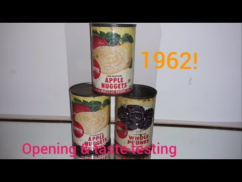 Opening and Eating canned fruit from 1962