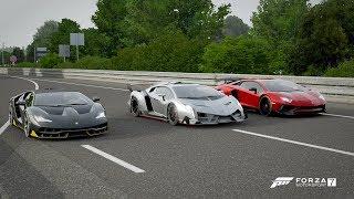 Forza 7 Drag race: Lamborghini Centenario vs Veneno vs Aventador SV