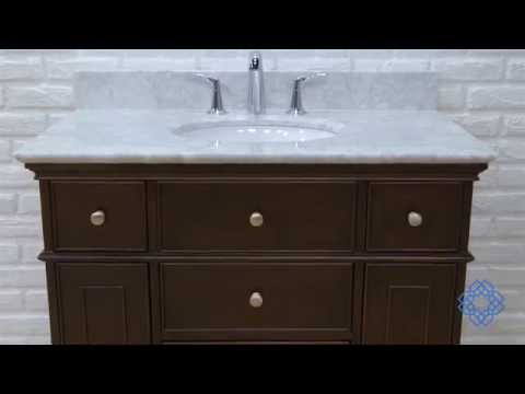 Video for Windsor 36-Inch Walnut Vanity with Carrera White Marble top and Undermount Sink