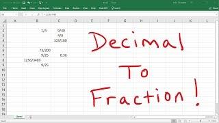 Convert Decimals to Fractions Using Excel!