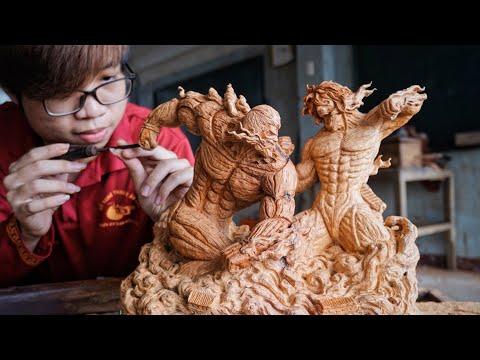 用木頭雕進擊的巨人