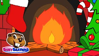 Christmas Yule Log Fireplace | 3 Hours | Holiday Cartoon Fire with Crackling Sound by Busy Beavers